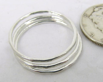 Fine Silver Stacking Rings (3), Thin Stacking Rings, Hammered Rings, Pure Silver Rings, Thin Fine Silver Stacking Rings, Hammered Rings