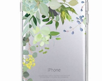 Beautiful Silicone Flower iPhone/Samsung case - Succulents and Green Flowers in Top-Left Corner