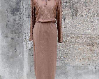 60s Vintage Dress | Brown Dress | Suede Dress | Striped Dress | Secretary Dress | Medium Dress M | Size 8 Dress | Long Sleeve Dress Work