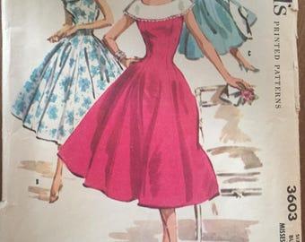 "Vintage 1956 McCall's Princess Seam Large Collar Dress Pattern 3603 Size 14, Bust 32""  McCall's Pattern / 50s Dress / Sewing Pattern"