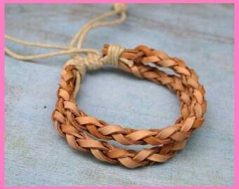 Men's Leather Bracelet Adjustable Hemp Cord Braided Leather Wrap