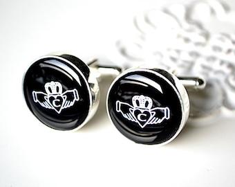 Irish Claddagh custom initial - stainless steel cufflinks by White Truffle Studio