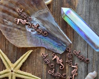 Antique Copper Seahorse Charms, 10x23mm, 2pcs / Nunn Designs, Shell Pendants, Nautical, Beach Charms, Sea Shell, Jewelry Supplies