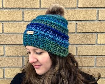 Crochet beehive pom pom beanie hat blue and green