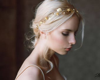 Gold Leaf Headband, Wedding  Headband,Bridal hairpiece, Wedding Headpiece, Leaf Tiara, Rustic Wedding, Wedding Hair Accessory,Hair Vine- LIA