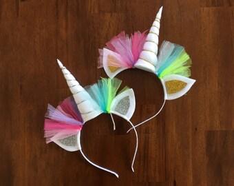 Gold Dots And Pastel Rainbow Unicorn Headbands Pastel