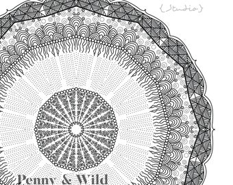 Mandala colouring page - Rainstorm - instant download for print