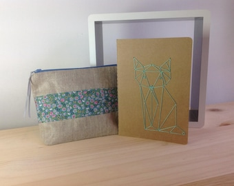Linen and Liberty Blue and embroidered notebook drawing origami Kit
