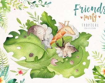 Watercolor tropical animal clipart. Digital kids illustration. nursery animals: bohemian  deer,mouse, giraffe, bear, beaver, hedgehog, hippo