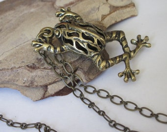 Animal Jewelry, Frog Pendant Necklace, Amphibian Jewelry, Hollow Filigree, Toad Necklace, Reptile Necklace