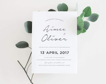 Modern Script Wedding Invitation - Calligraphy Wedding Invitation - Wedding Invite - Wedding Invitation set