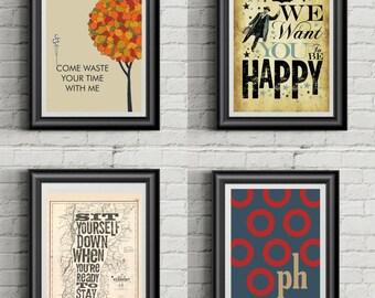 PHISH Phan Art Collection   Poster Prints   11x14   Set of 4   Home Decor   Wall Art
