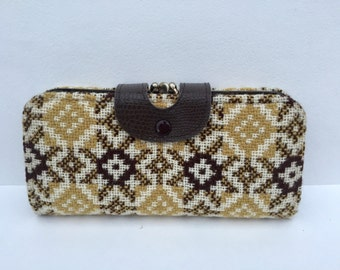 Vintage Brown Faux Leather & Real Welsh Tapestry Purse Vintage Ladies Clutch Gift for Her