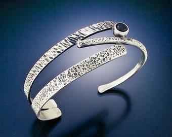 Sterling silver bracelet black onyx handmade branches, twig bracelet
