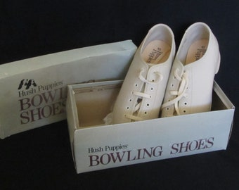 Vintage 80s – 90s Women's Size 10 Bowling Shoes, Hush Puppies, Never Worn, Named Tempest, In Bone