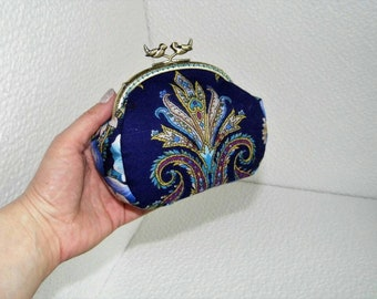 Metal frame handbag, blue handbag clutch, oriental style handbag, kiss lock clutch, fabric purse