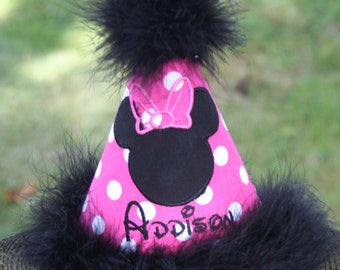 Personalized Minnie Mouse-inspired Party Hat - Birthday - Pink Polka Dots - Name - Cake Smash - Theme - Party Decor