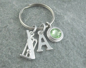 Cricket keychain, cricket keyring, initial keychain, birthstone keychain, birthstone keyring, personalized keyring, monogram keychain, sport