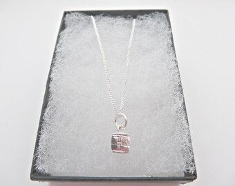 Silver square pendant, Fine silver pendant, One of a kind pendant, Tiny silver square pendant, Textured silver pendant, Made in the UK
