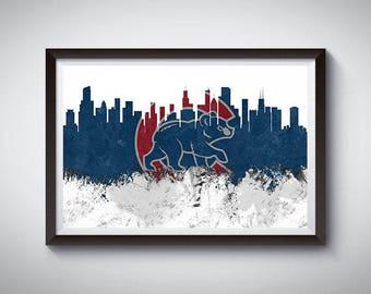 Chicago Baseball Inspired Art Poster Print, Chicago, Illinois Skyline Poster