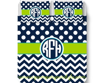 Polka Dot and Chevron Bedding with Matching Sham(s) - Navy Blue and Lime Green Monogrammed Bedding Duvet or Comforter - College Dorm Duvet