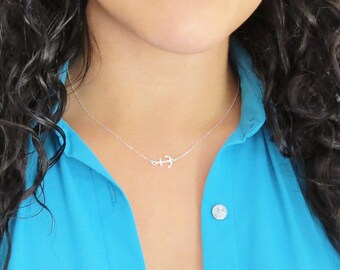 Silver Side Anchor Necklace, Sideways Anchor, Anchor Jewelry, Sterling Silver Anchor Necklace, Gifts Under 25