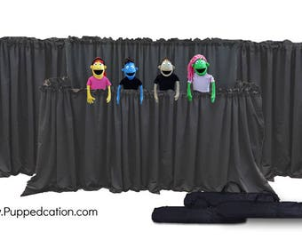 FULL Puppet Stage with Wings - DLX 2 Tier Portable Tripod Puppet Theater | Stage, Ministry