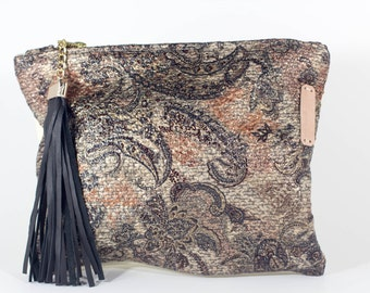 Leather & Fabric Clutch with Black Leather Tassel