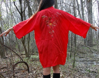 Vintage Embroidered Red Kimono Robe Duster Jacket