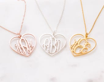 Monogram Jewelry • Custom Name Necklace • Personalized Monogram Initials Heart Charm Necklace • Bridal Wedding Gift • Bridesmaid Gift NM17