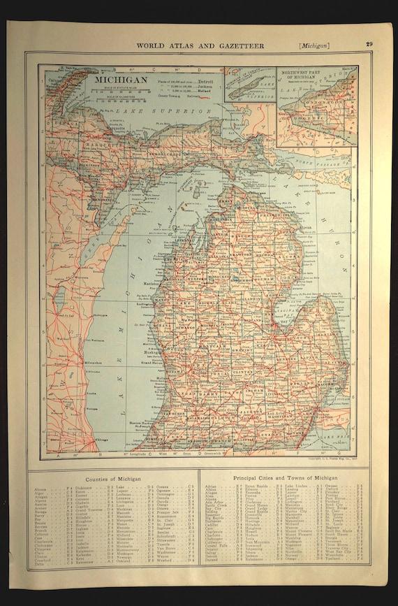 Michigan map michigan railroad antique state original gumiabroncs Gallery