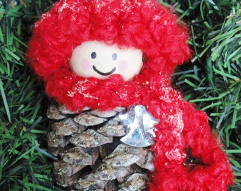 Pinecone Gnome Christmas Tree Ornament Angel Crocheted Red Hat & Scarf Handpainted Wooden Holiday Decoration Distinctly Daisy