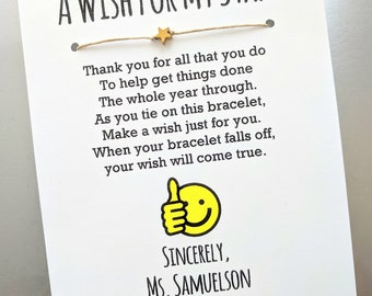 """A Wish for My Staff - Wish Bracelet with a """"You're a Star"""" Bead - Employee Appreciation Gift Custom Made for You"""