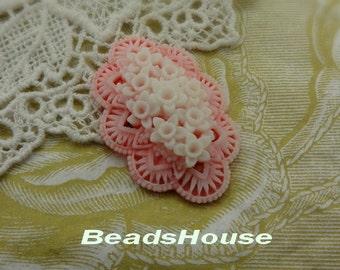 20% OFF 331-00-317-CA  2pcs  Pretty Flower  Garden Cabochon - white / Pink
