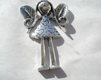 56mm Antique Silver Angel Charms, Antique Silver Angel Pendants, Pair of Angel Charms, C74
