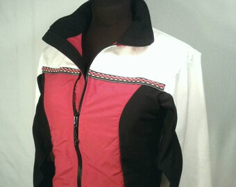 Northwoods Apparel Stretch Jacket Activewear Windbreaker Quality USA Made Red Black White Color Blocked Wintergreen Women's Size XS Small