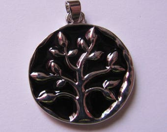 silver pendant black tree of life 28mmx25mm