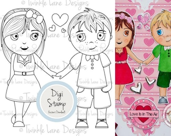 Couple Clipart, Digital Stamps, Valentine, Anniversary, Hearts, Colouring Page, Papercraft, Boyfriend, Girlfriend, Digi Stamps, Printables