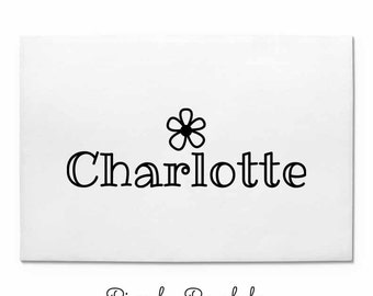 Personalized Custom Rubber Stamp, Name Stamp with Flower