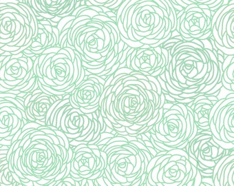 Blossom Print Fabric by the yard - Mint Green and White