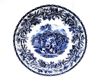 1950s Booths British Scenery English China Plate Made in England Vintage Farmhouse Home Colonial Blue & White Sectioned Divided Serving Dish