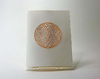 Celtic Eagle Knot Card. Letterpress. Embossed. Single Card. Blank Inside.