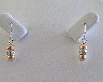Yellow Gold Filled and Sterling Silver Swarovski Crystal Earrings