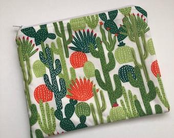 Cactus Zipper Pouch, Pencil Pouch, Zipper Pouch, Pencil Bag, large Zipper Bag, Cosmetic Bag, Pencil Case
