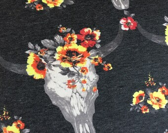 Floral Skull Boho French Terry in Charcoal