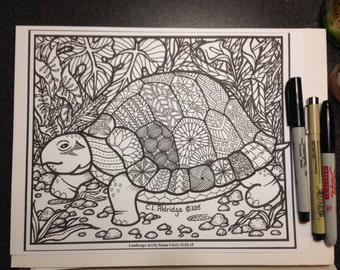 Coloring Pages Pond Animals : Claldridgeart original botanical art coloring by claldridgeart