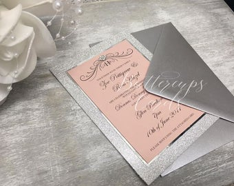 Silver Glitter Blush Pink Wedding Invitations, Reception Invitations, Silver and Pink Invitations, Glitzy Wedding Invitation, Glam Wedding