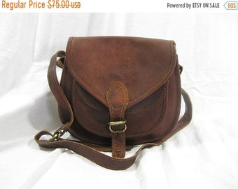 15% OFF SALE Vintage brown distressed brown oil waxed leather crossbody flap bag purse