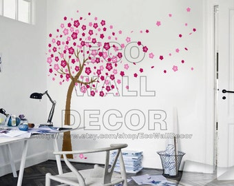 PEEL and STICK Removable Vinyl Wall Sticker Mural Decal Art - Japanese Trailing Cherry Blossom Tree Decal
