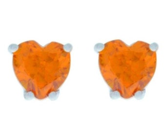 2 Ct Citrine Heart Stud Earrings .925 Sterling Silver Rhodium Finish